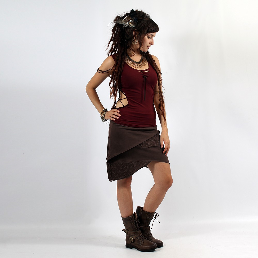 """Nangaï\"" skirt, Plain brown"