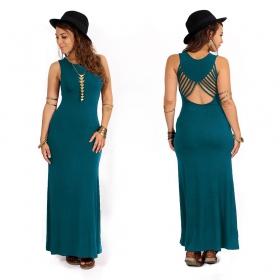 "\""Nayantara\"" long dress, Dark teal"