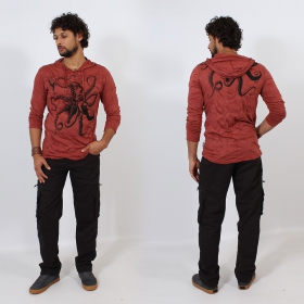 """Octopus\"" hooded t-shirt, Dark red"