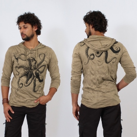 """Octopus\"" hooded t-shirt, Light brown"