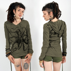 """Octopus\"" hooded top, Khaki"