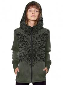 "\\\""Oniwings\\\"" zipped hoodie, Khaki hydron"