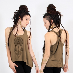 ""\\""""Peacock dreamcatcher\"""" knotted tank top, Black and gold""280|280|?|en|2|44c319f7e1a8b18ca01019690f369049|False|UNLIKELY|0.34106510877609253