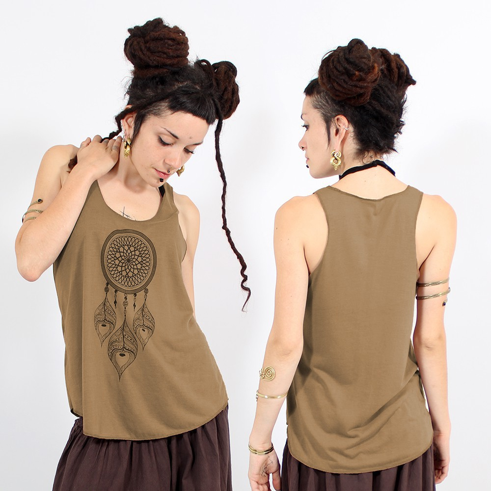 "\""Peacock dreamcatcher\\\"" tank top, Brown and black"