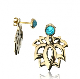 "Pendientes \""Lotus Sayam Turquoise\"""