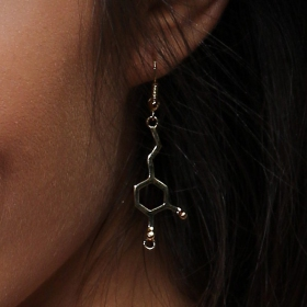 """Pleasure\"" earrings, Dopamine molecule"