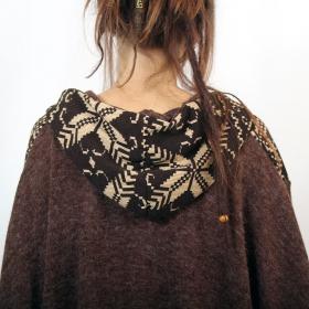 "Poncho Witch \""Kamboja\"", Brown pattern one size"