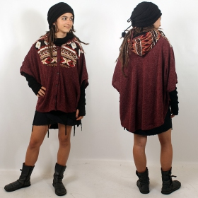 "Poncho Witch ""Kamboja\"", Wine pattern one size"