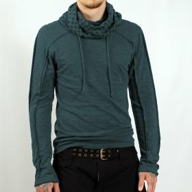 "Psylo \\\""kafiya\\\"" hooded jumper, teal blue"