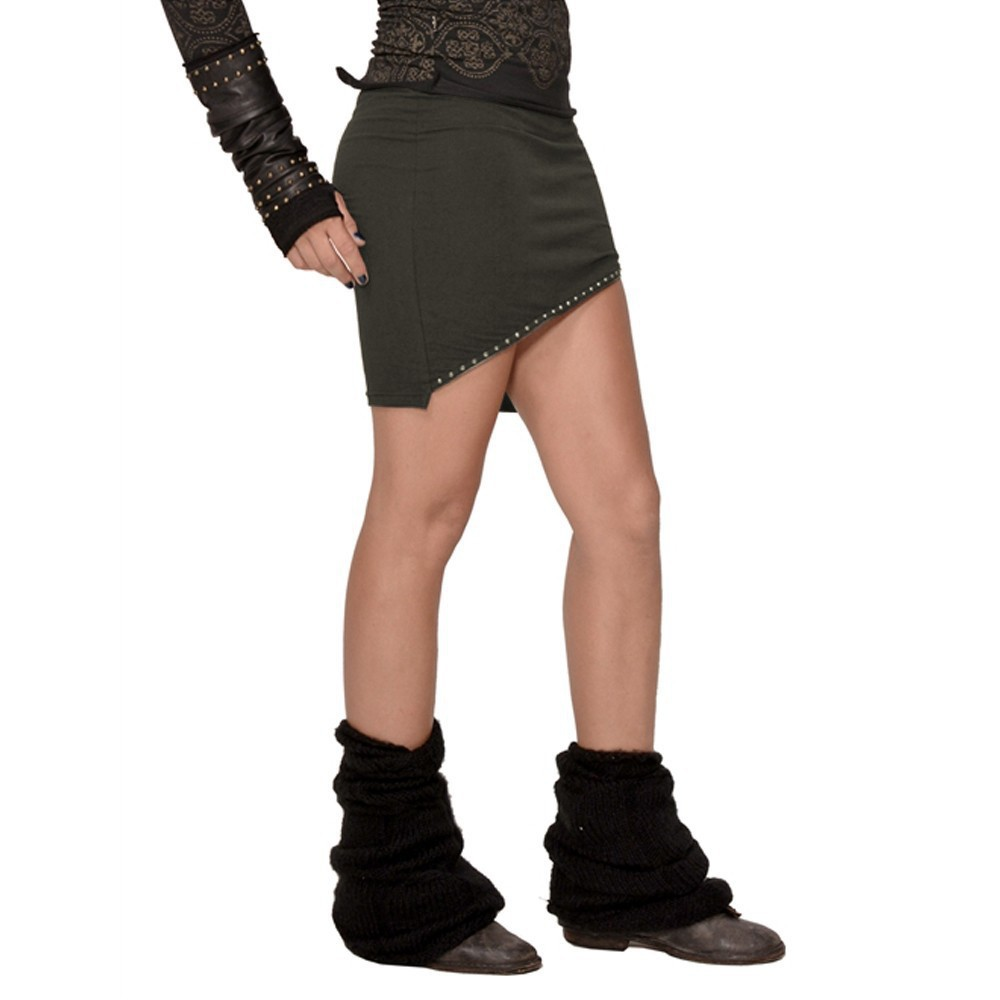 "Psylo ""Zip\"" mini skirt, Dark khaki"