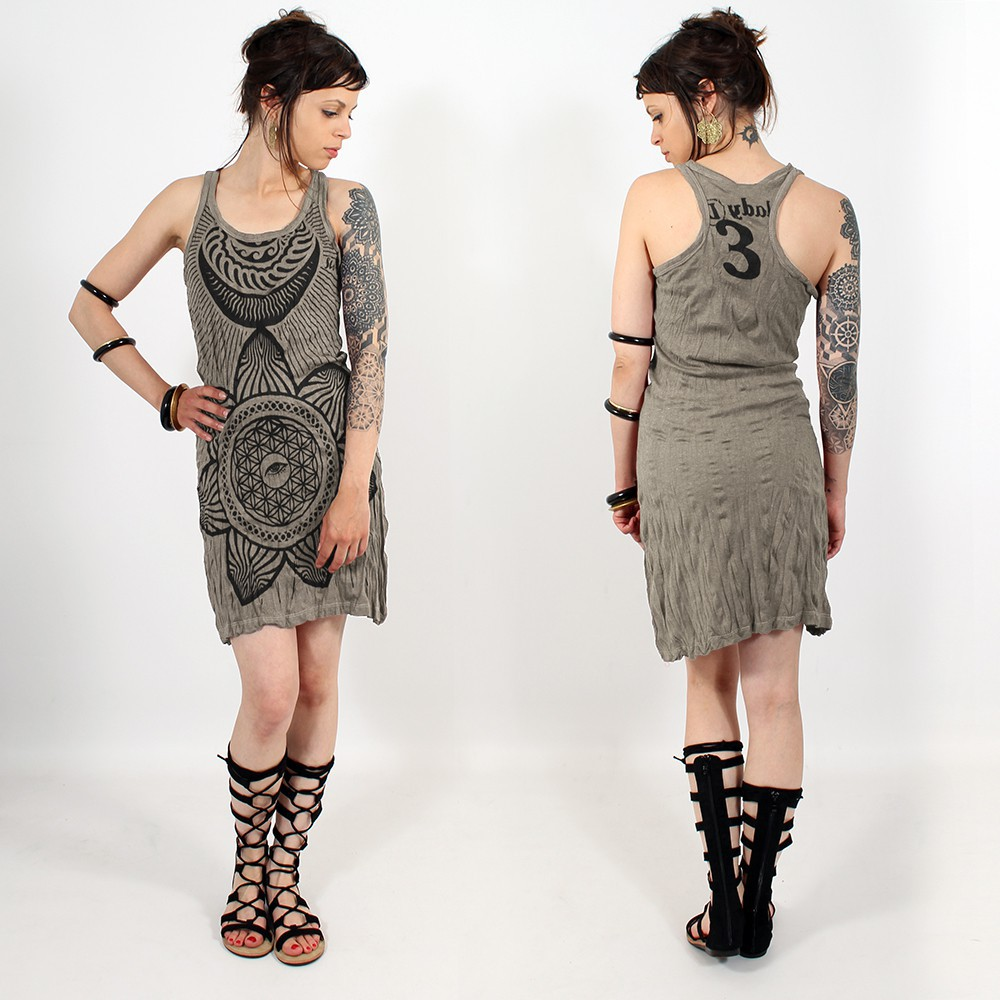 """Sacred Geometry\"" dress, Grey beige"