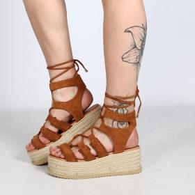 """Sandalias con plataforma \""""Naheiti\"""", Camel"""