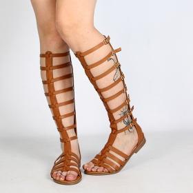 sandalias gladiatores spartiates altas para mujeres de cuero sintético marrón camel perfecto por el verano luana negro con correas y  hebillas