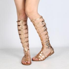 sandalias gladiatores spartiates altas para mujeres de cuero sintético dorado brillante perfecto por el verano luana negro con correas y  hebillas