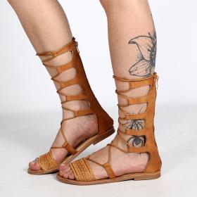 sandalias mujer espartanas gladiadoras de verano en cuero camel y muchas correas