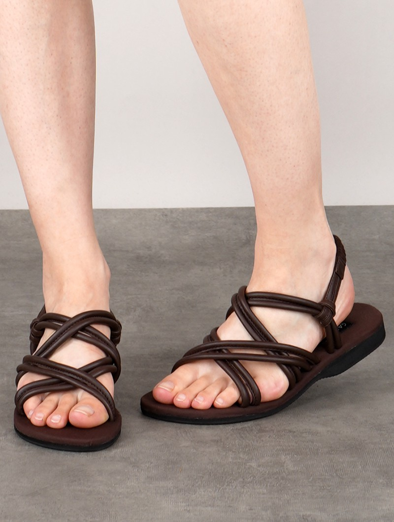 "Sandalias planas con correas \""Pusha\"", Marrón oscuro"
