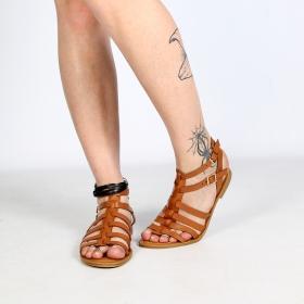 sandalias gladiatores spartiates bajas de suero sintético marró camel para mujeres perfecto por el verano hera con correas y  hebillas