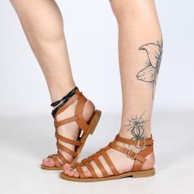 """Sandalias romanas bajas """"Hera"""", Camel"""
