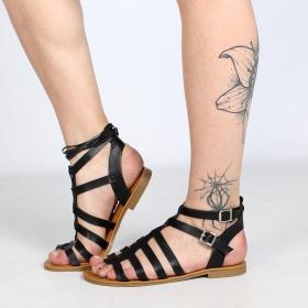 """Sandalias romanas bajas """"Hera"""", Negro"""