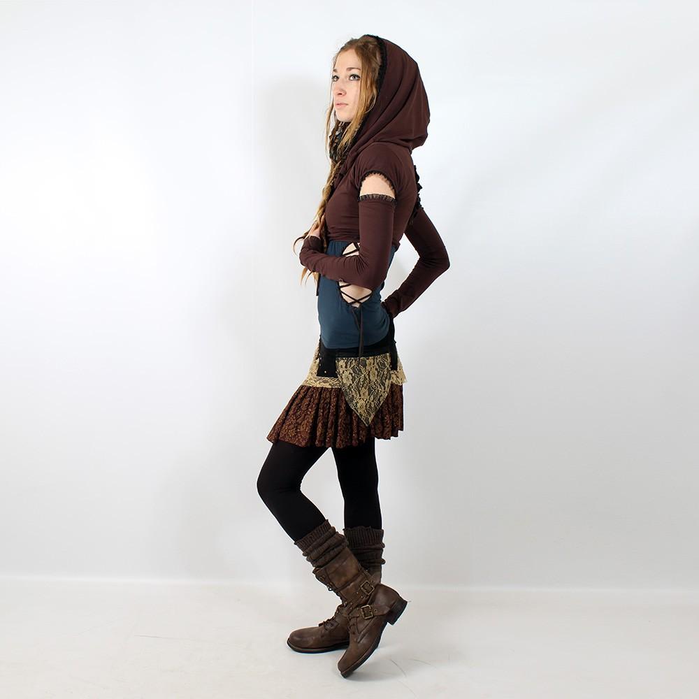 """Skirt Exception \\\""""Chimey\\\"""", Black brown beige"""