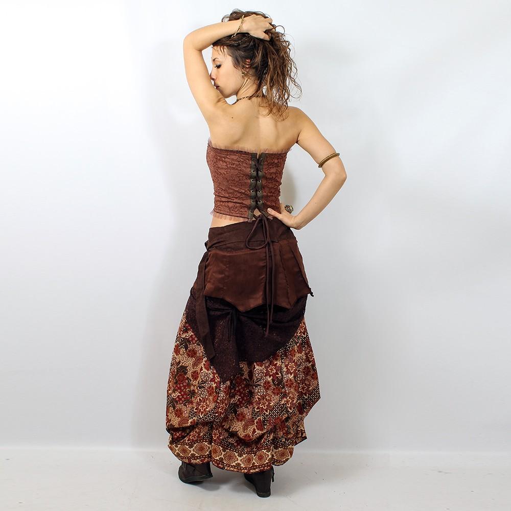 "Skirt liloo \\\""utopia\\\"", brown / deep red"