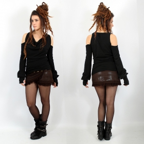 "Skirt Luna ""Funky wrap\"", Fake leather brown"