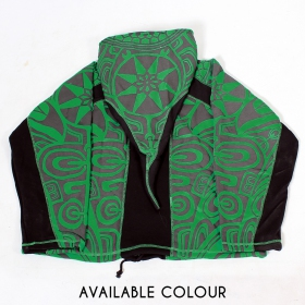 """Skywalker Haida"" pointy hooded jacket, Green and black"