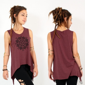 "\""Snowflake mandala\\\"" asymmetric top, Mottled wine and black"