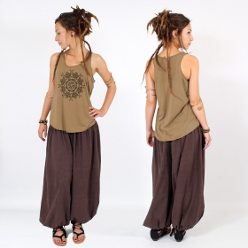 "\""Snowflake mandala\\\"" tank top, Brown and black"