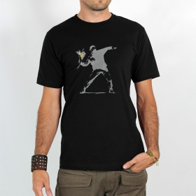 "T-shirt ""banksy hooligan flowers\"""