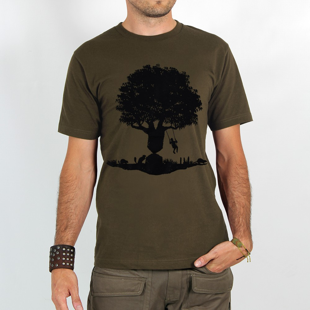 "T-shirt ""castor tree\"", light brown"