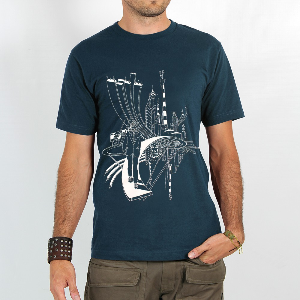 "T-shirt ""city cyclops\"", dark blue"