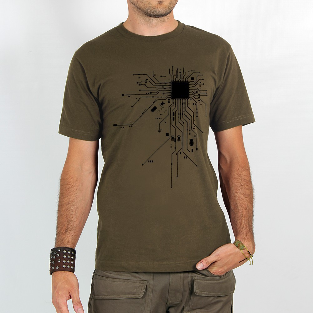 "T-shirt ""electrosystem\"", light brown"
