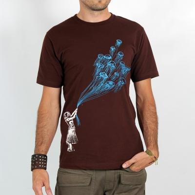 """T-shirt \""""flying medusa\"""", Brown"""