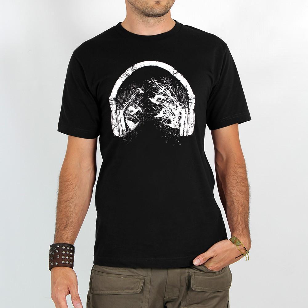 "T-shirt \""headphone birds\"", black"