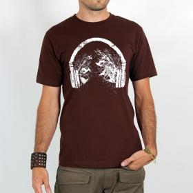 """T-shirt \""""headphone birds\"""", brown size s"""