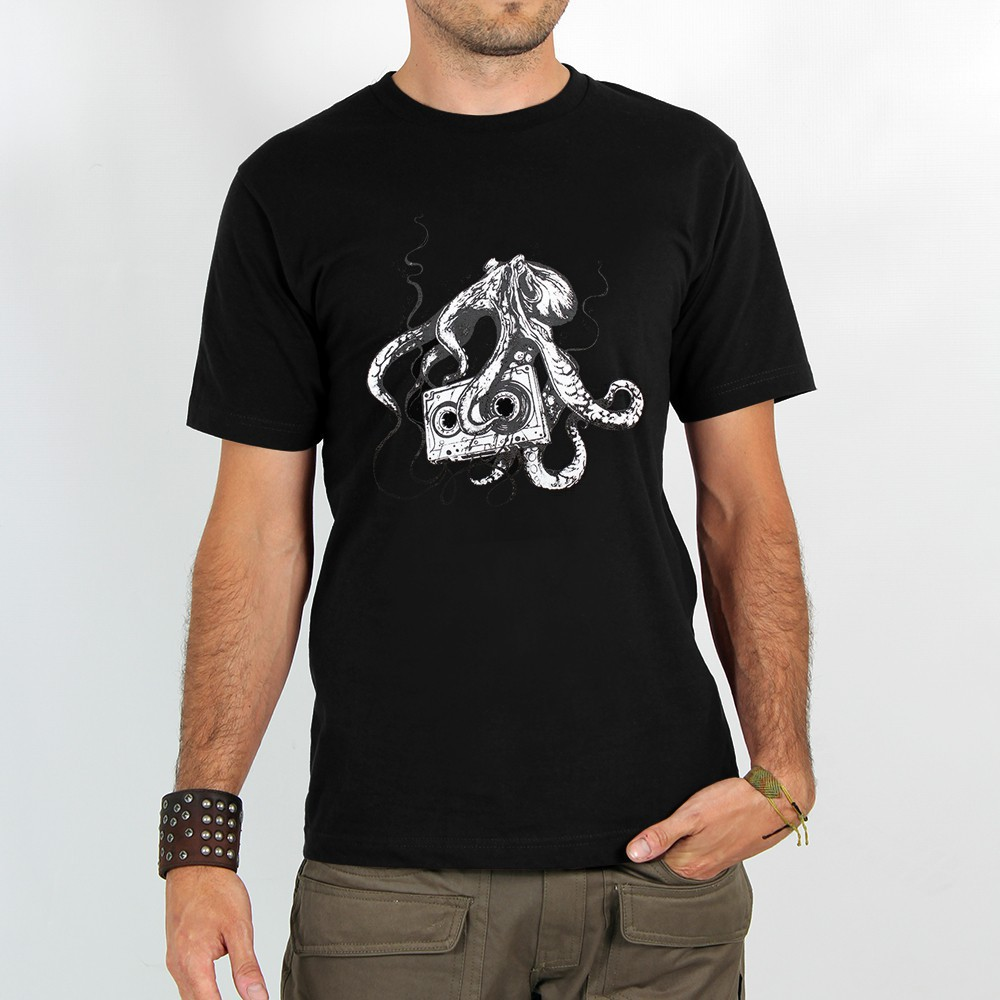 "T-shirt ""octopus k7\"", black"