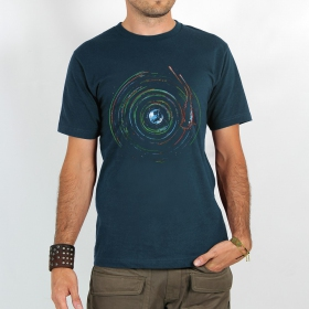 "T-shirt ""planet record\"", Dark blue"
