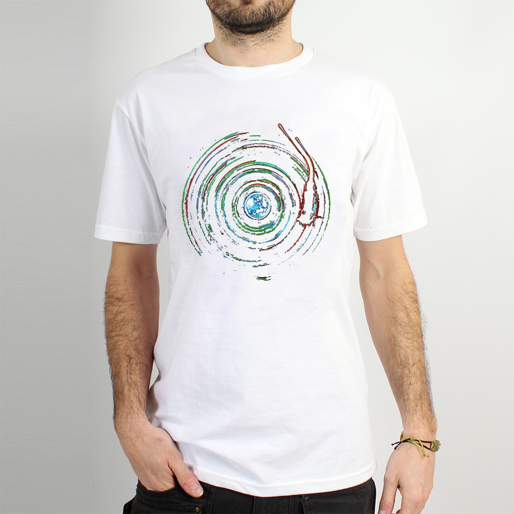 "T-shirt ""planet record\"", White"