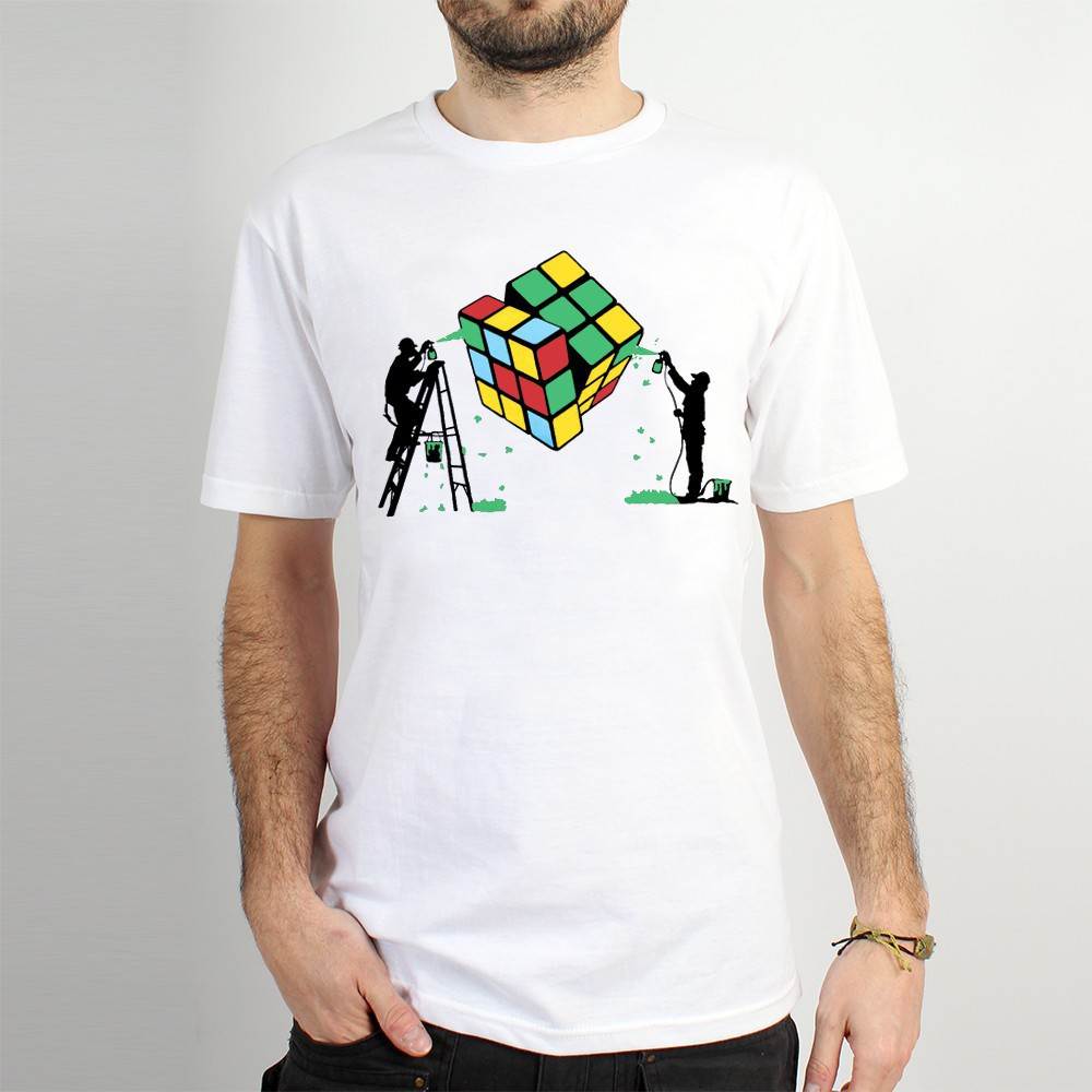 "T-shirt \""rubik\'s cube graffiti\"", white"