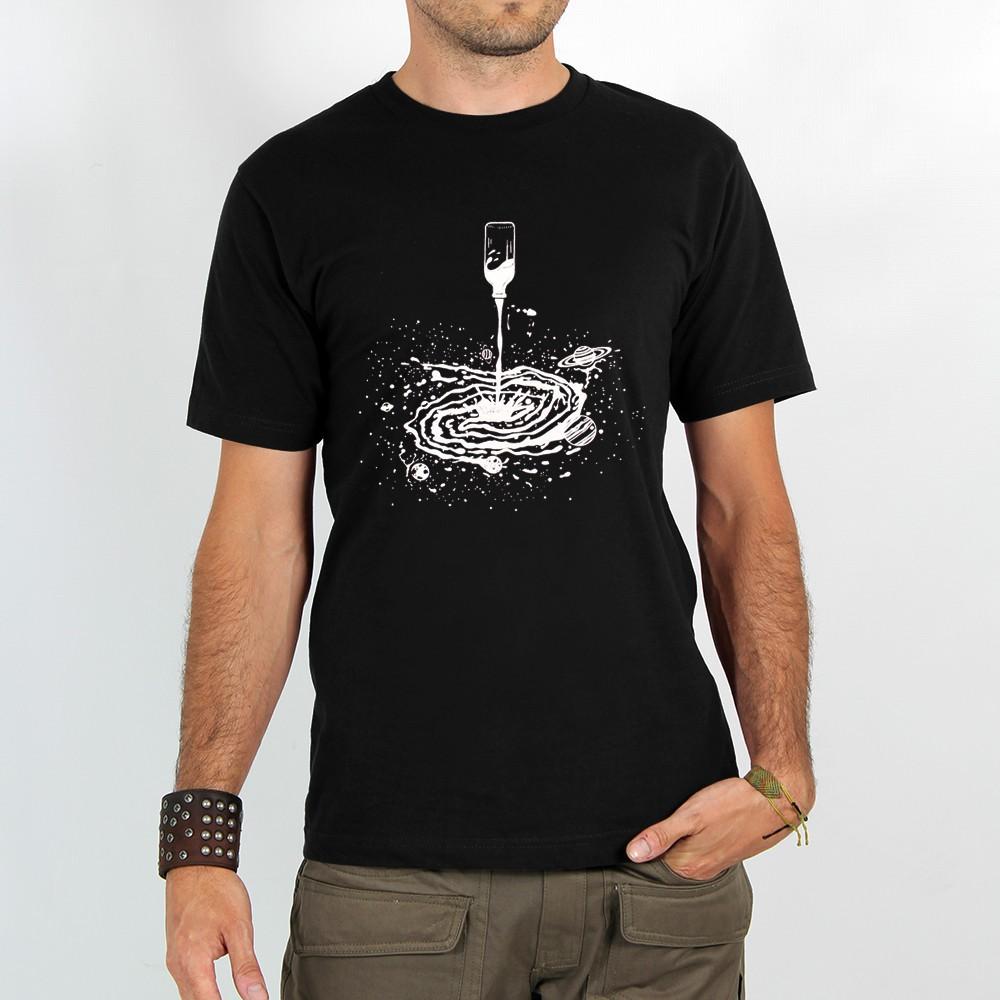 "T-shirt \""spiral universe\"", black"