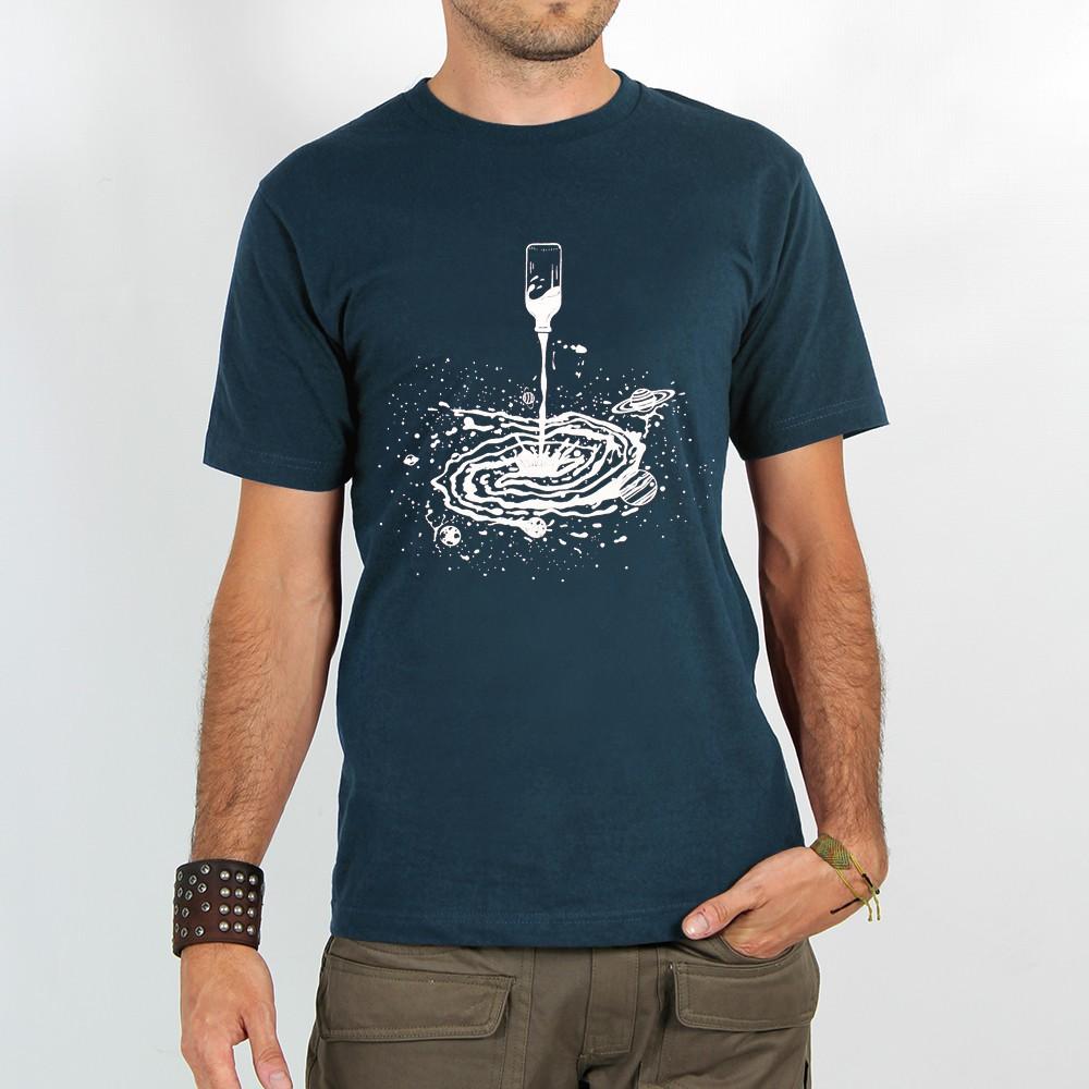"""T-shirt \""""spiral universe\"""", dark grey blue"""