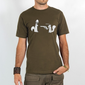 "T-shirt ""squirel braquage\"", light brown"