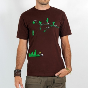 "T-shirt ""tetris ants\"", brown"