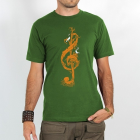 "T-shirt ""vegetal treble clef\"", green"
