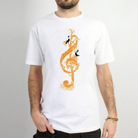 "T-shirt ""vegetal treble clef\"", White"