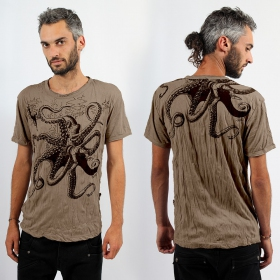 T-shirt octopus light brown