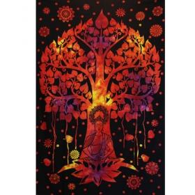 "Tapiz de tela \""Árbol de Bouddha\"", Naranja y negro"