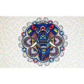 "Tapiz de tela \""Colourful elephant mandala\"", Azul"