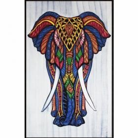 """Tapiz de tela \""""Geometric Elephant\"""", Multicolor"""